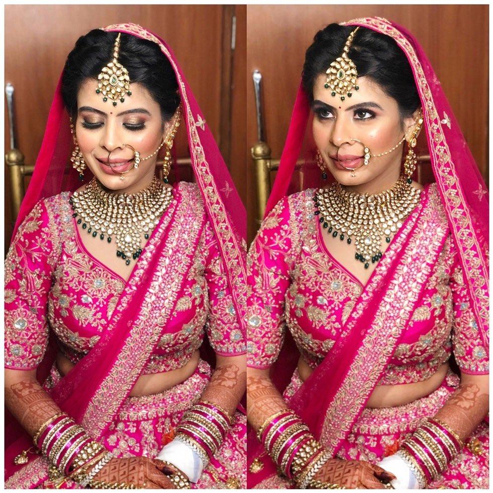 Beautiful bride in pink bridal makeup