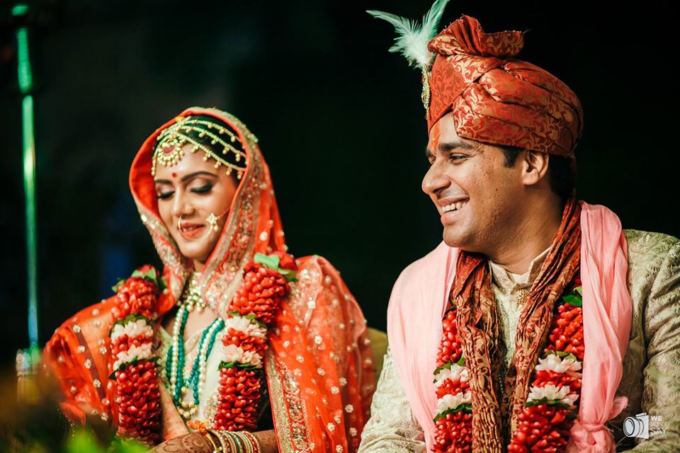 Happy Indian Bride & Groom Picture During Wedding Rituals