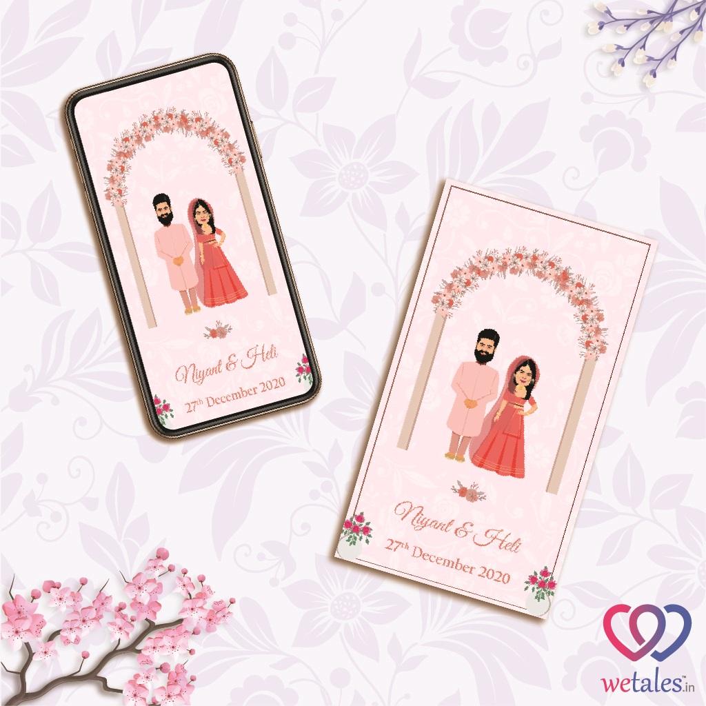 customised wedding invitation in pink