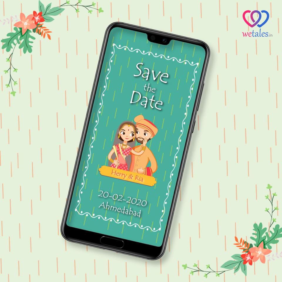 save the date with caricature design