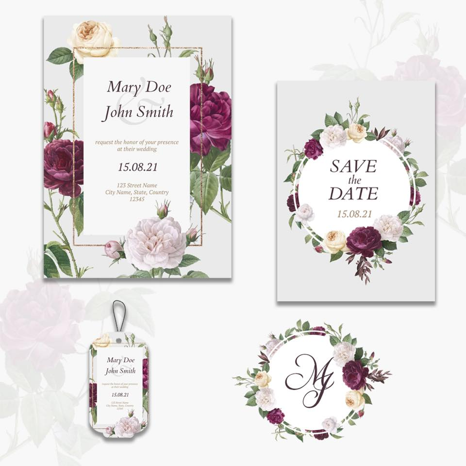 save the date and wedding card in florals