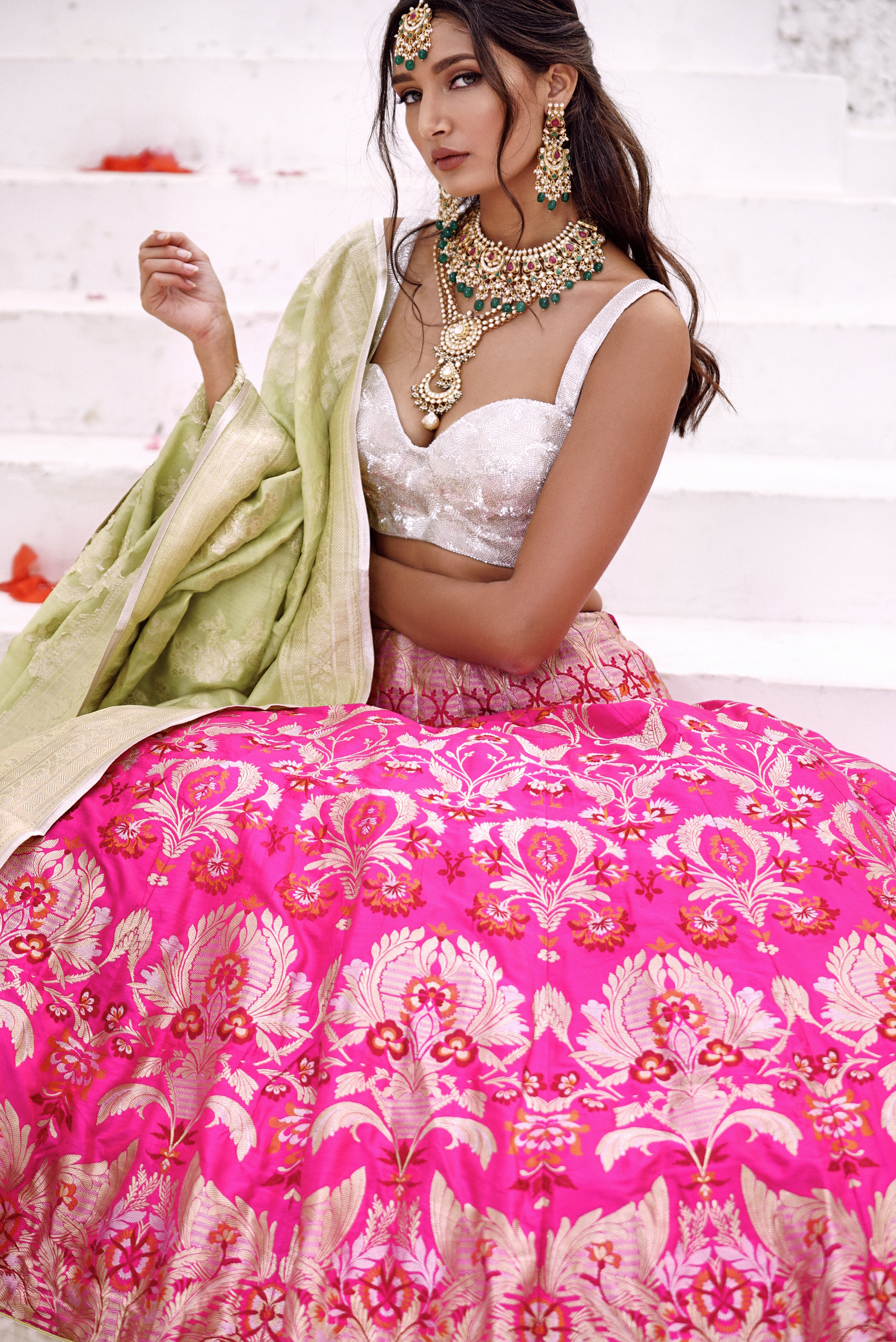 bride in pink outfit