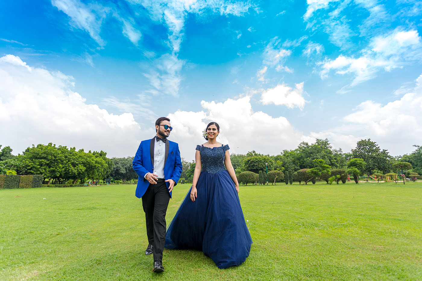 couple in coordinated outfits at their pre wedding shoot