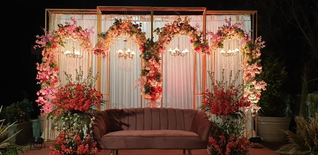pastel floral seating decoration