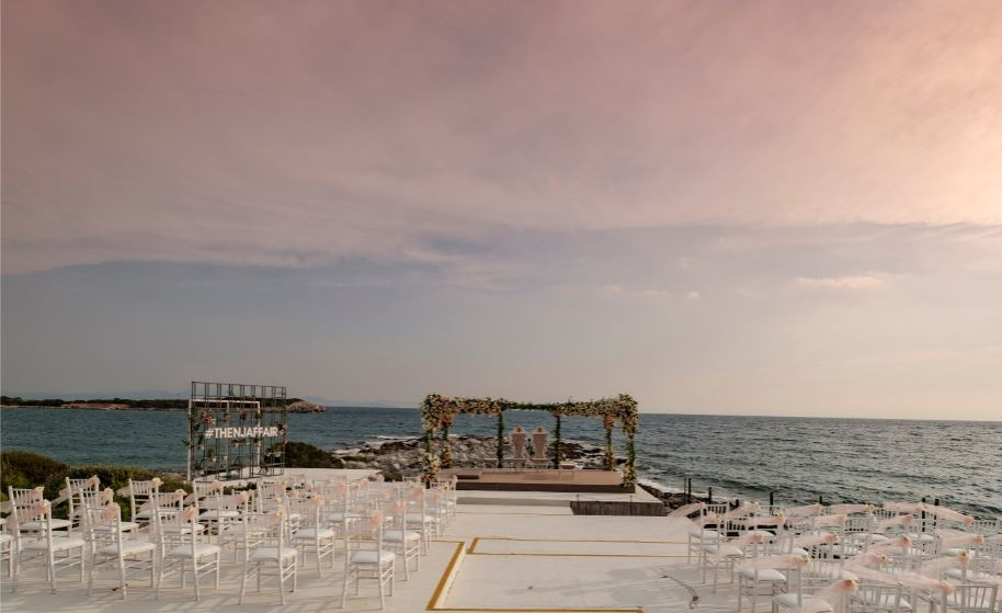 White Floral Beach Side Mandap Setup