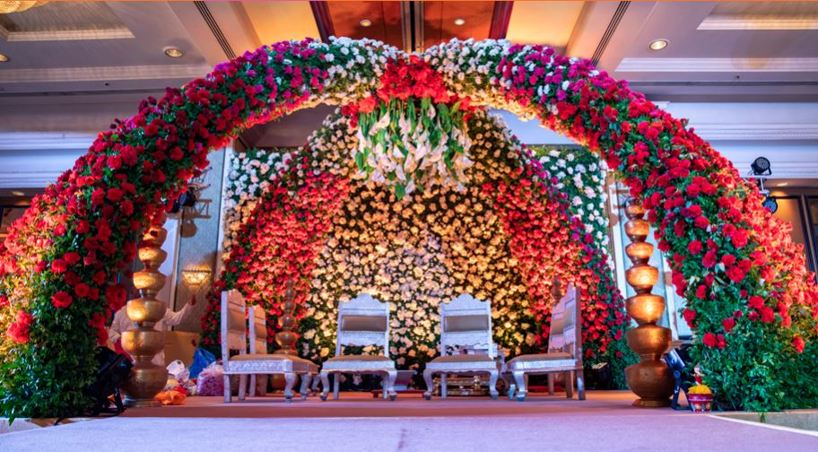 Indoor Red Floral Mandap Decor