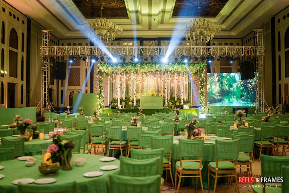 Green Theme Indoor Wedding Decor