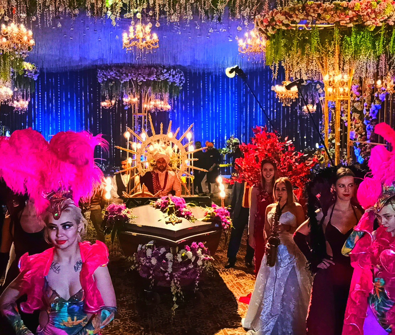 unique groom's entry with performers