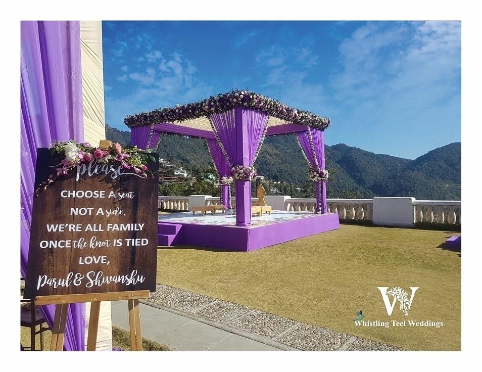 Beautiful purple outdoor wedding decor