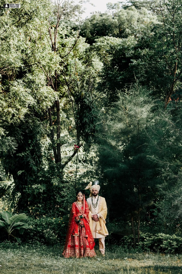 Bride & Groom Portrait Picture in Forest