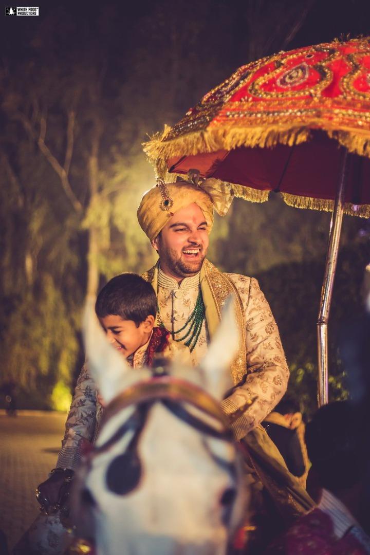 Happy Groom in Indian Wedding Baarat Picture