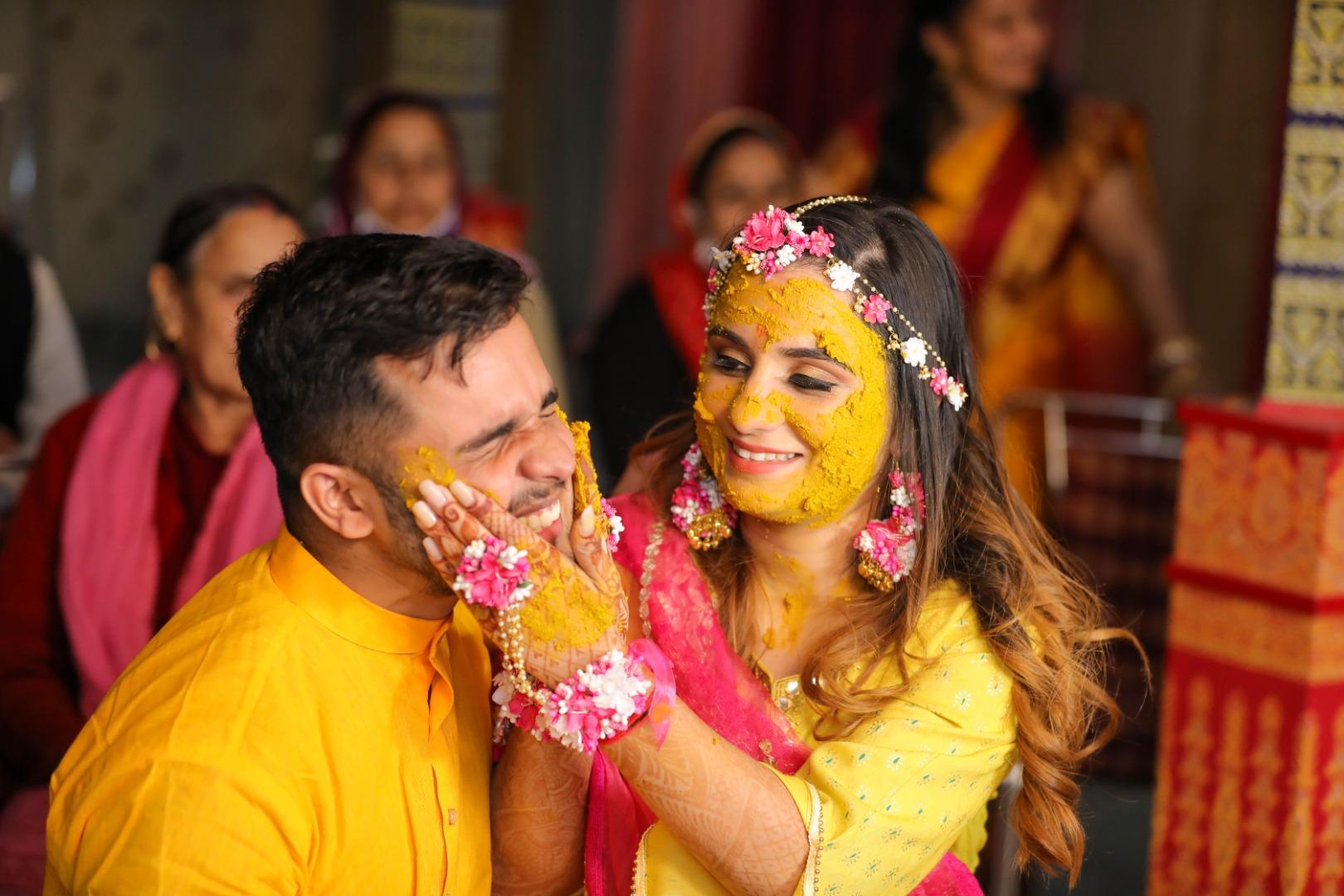 couple at their haldi