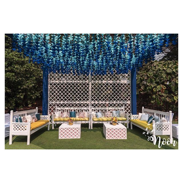 blue artifical flower hanging decoration idea