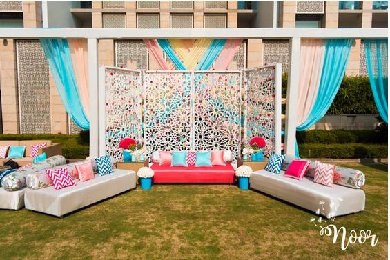 white and blue theme drapping decoration idea