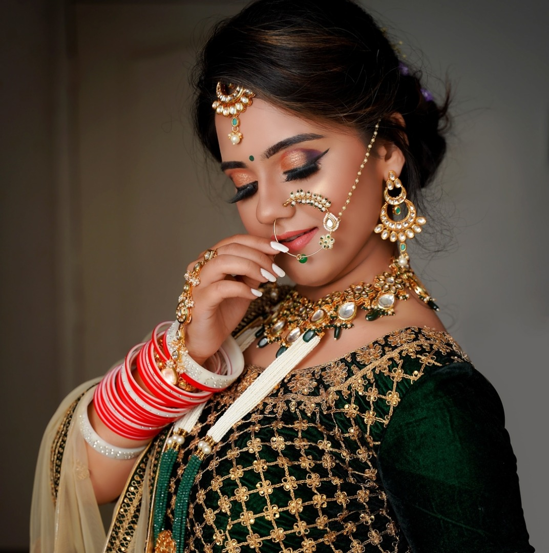 Eye Makeup with Green Lehenga