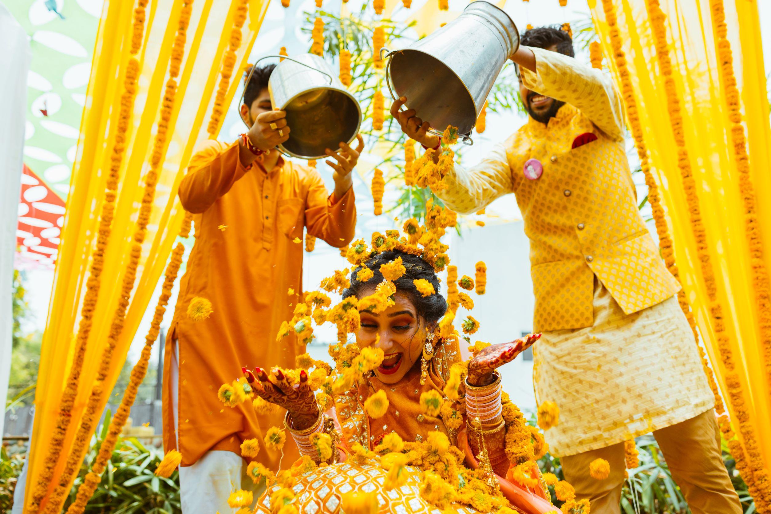 beautiful bride at her marigold flower shower