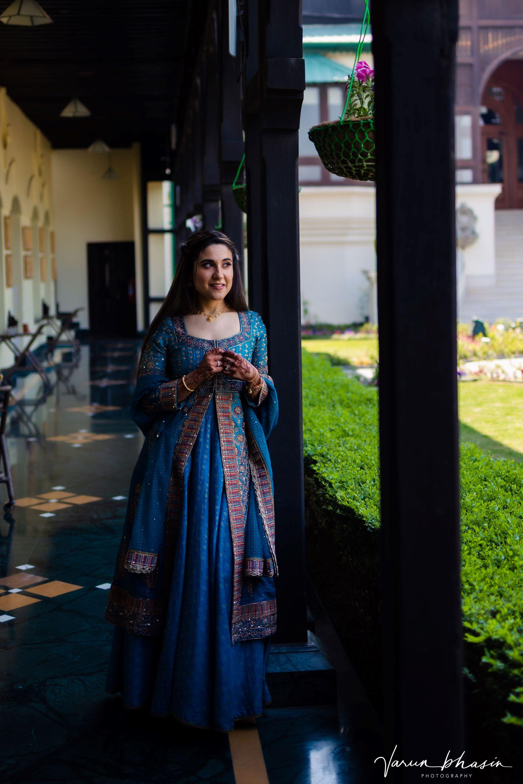 beautiful bride in blue