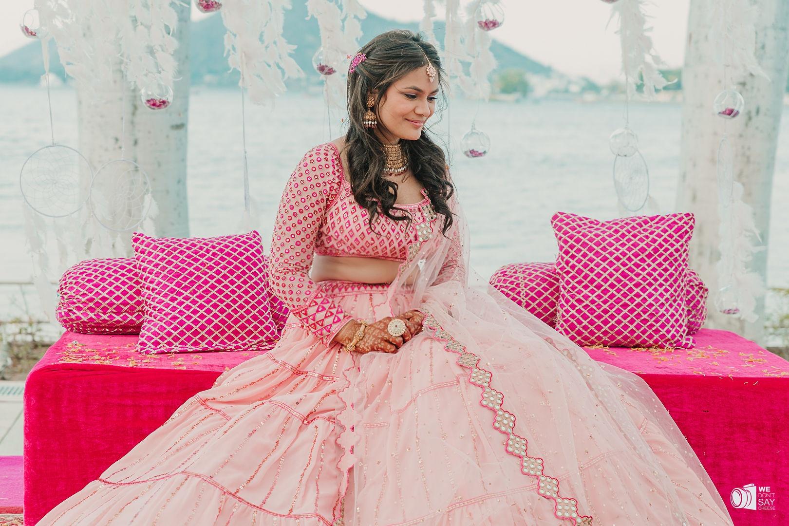 beautiful bride in pink bridal lehenga