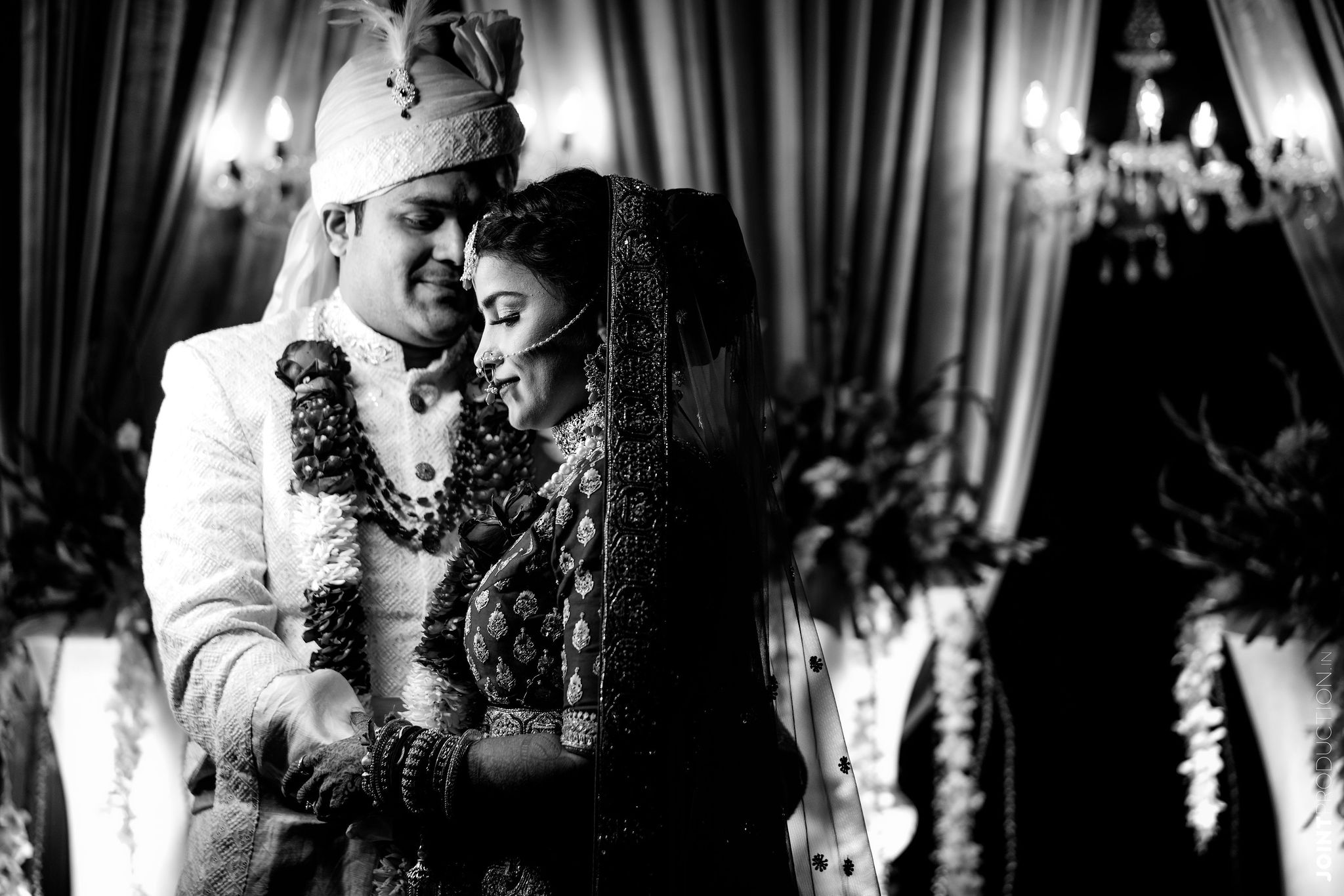 bnw shot of the couple at their wedding