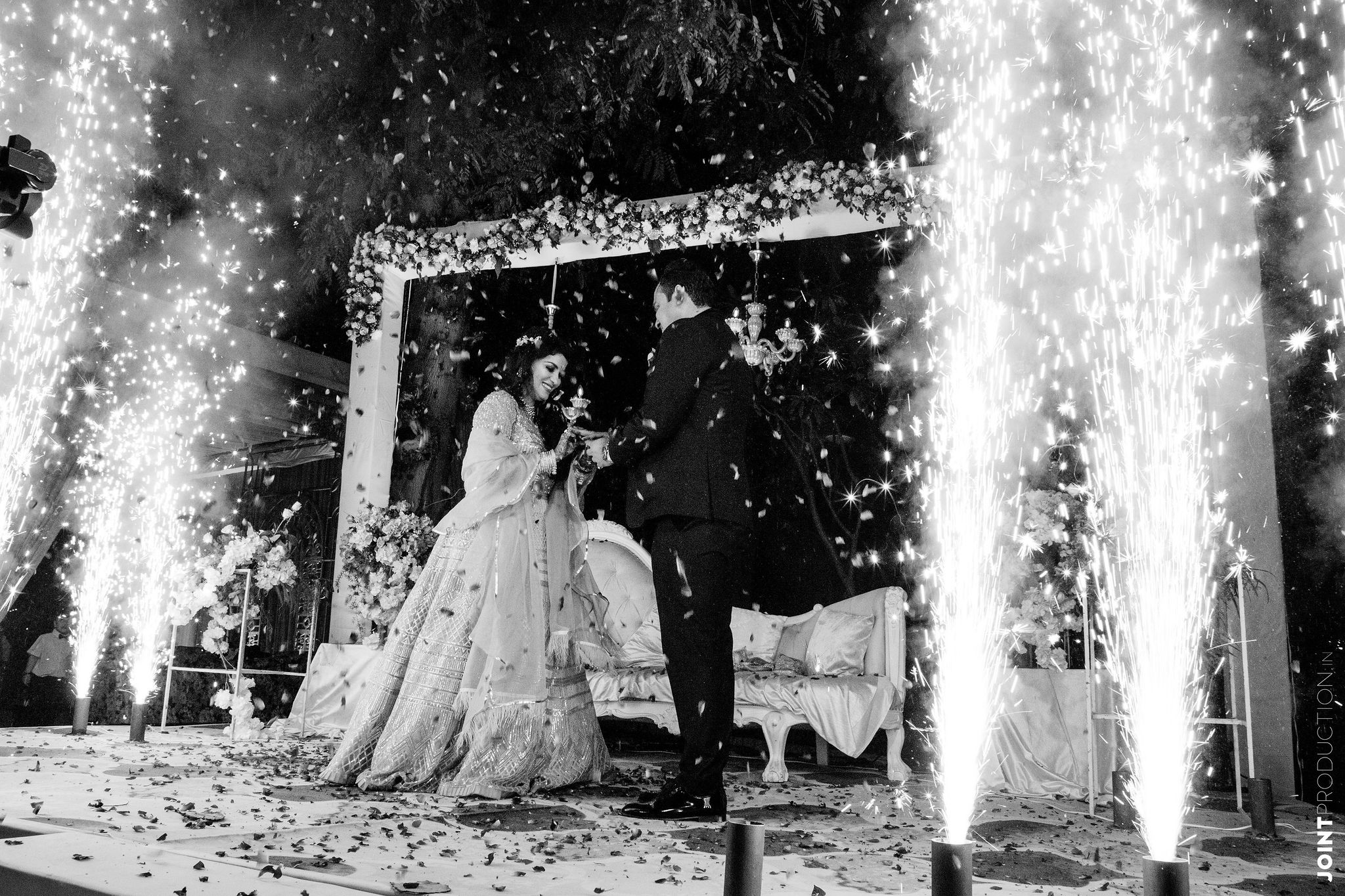 bnw shot of the happy couple at their engagement