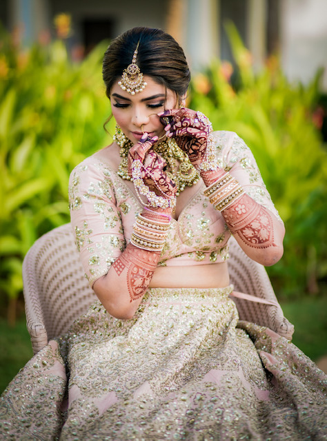 bridal dress and jewellery