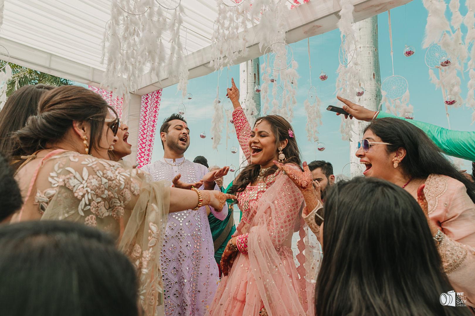 bride dancing at her engagement