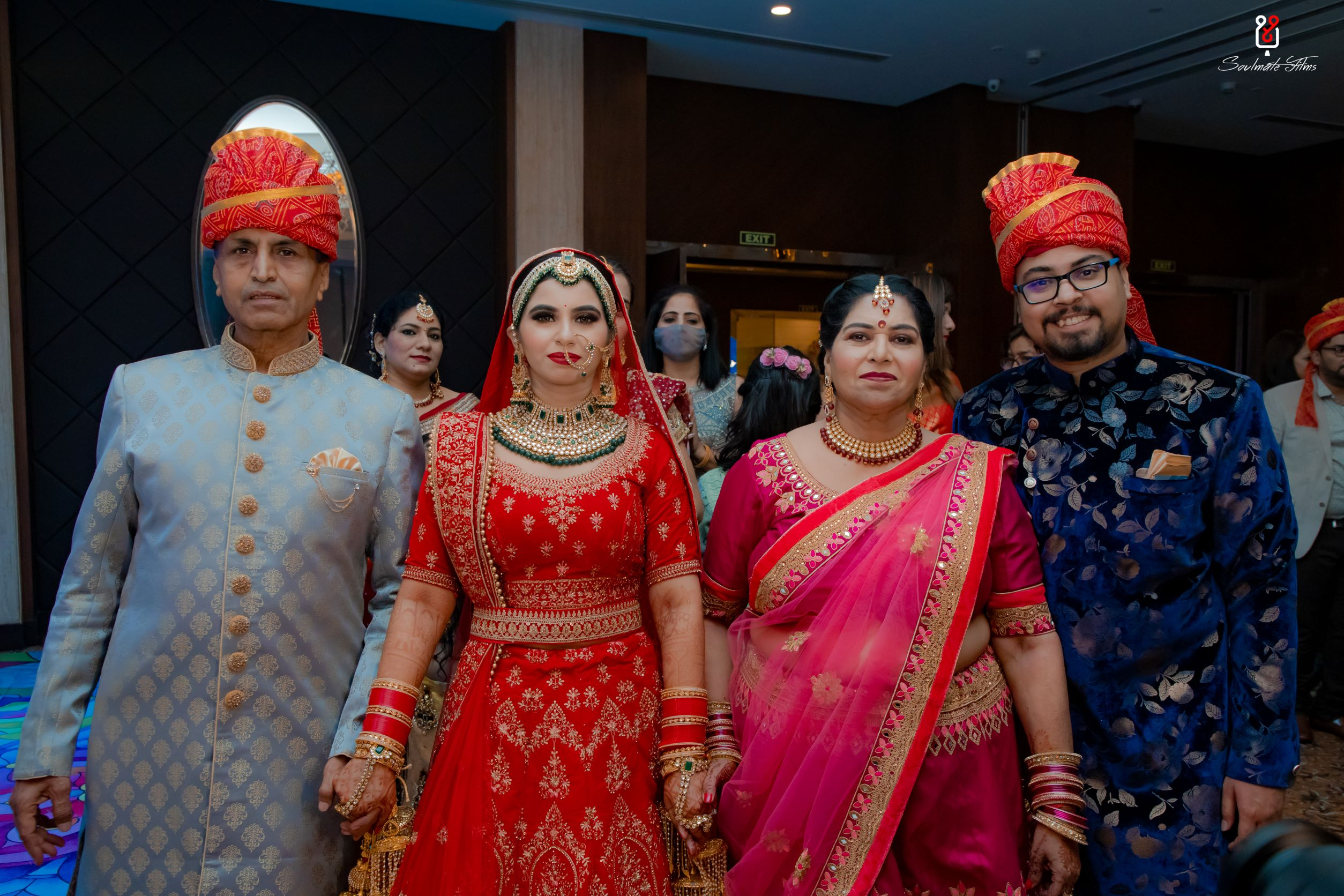 bride enters with her family