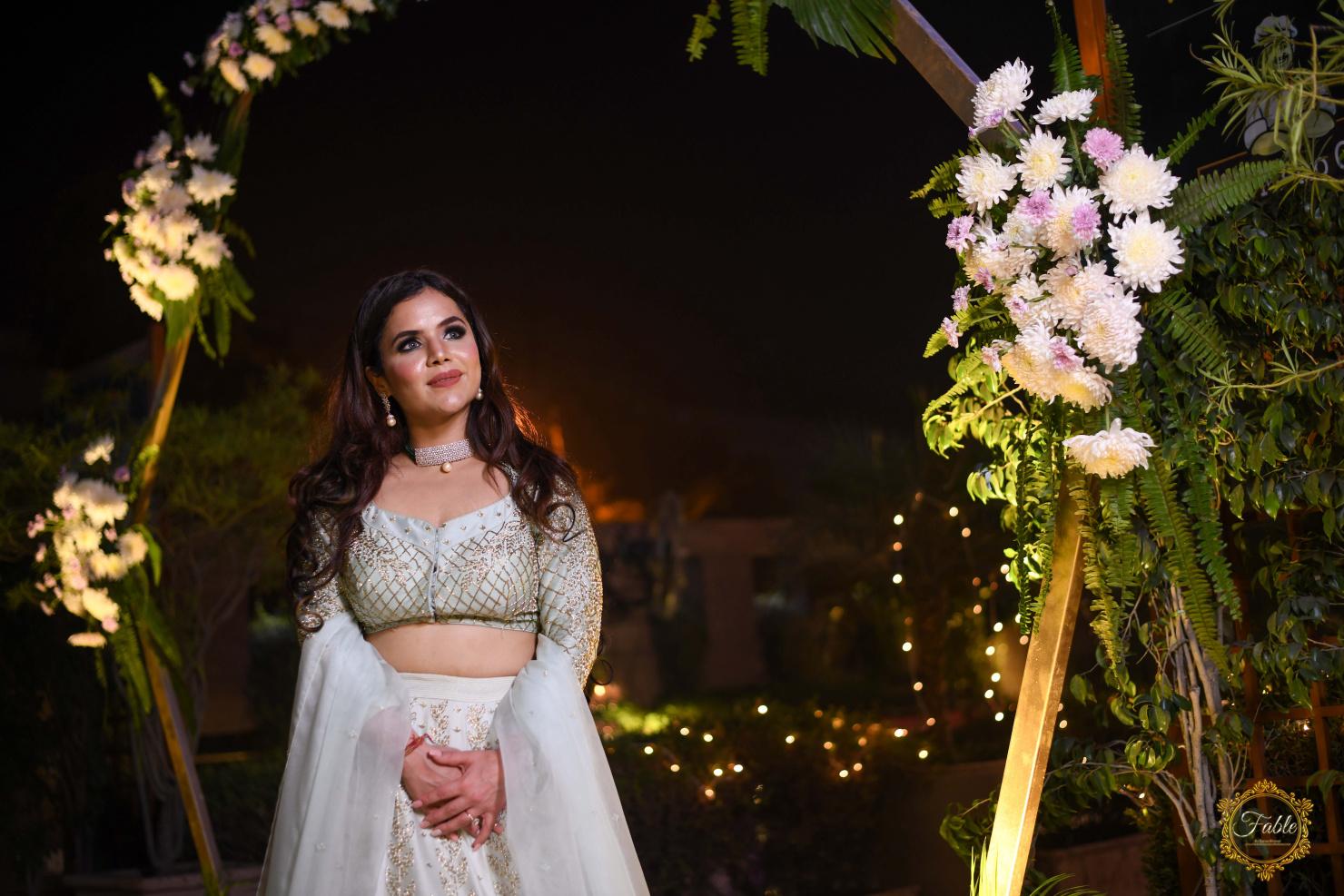 bride in smokey eye and nude lip makeup