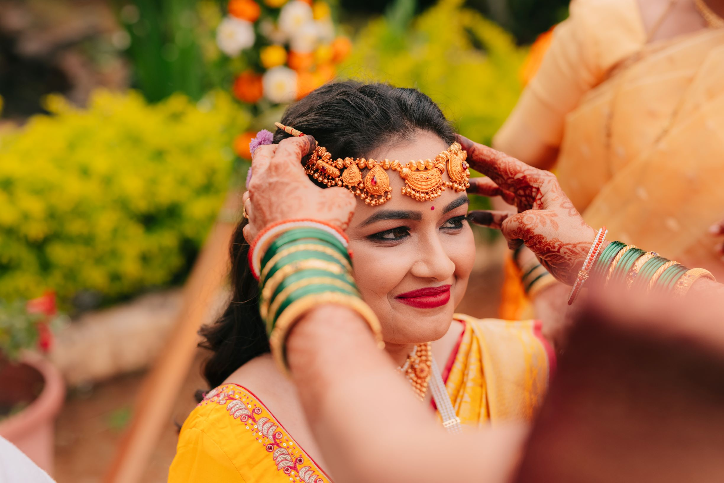 bride in traditional bridal jewellery