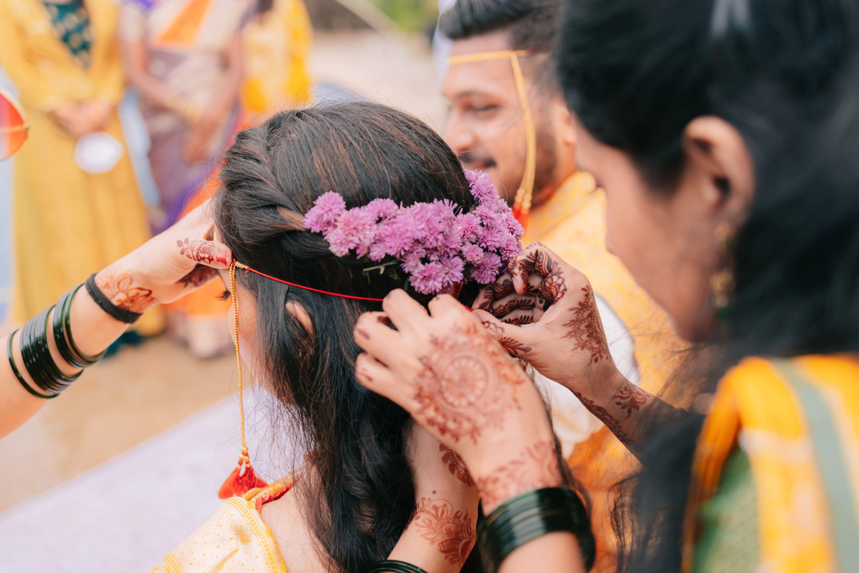 bride with lavender floral tiara