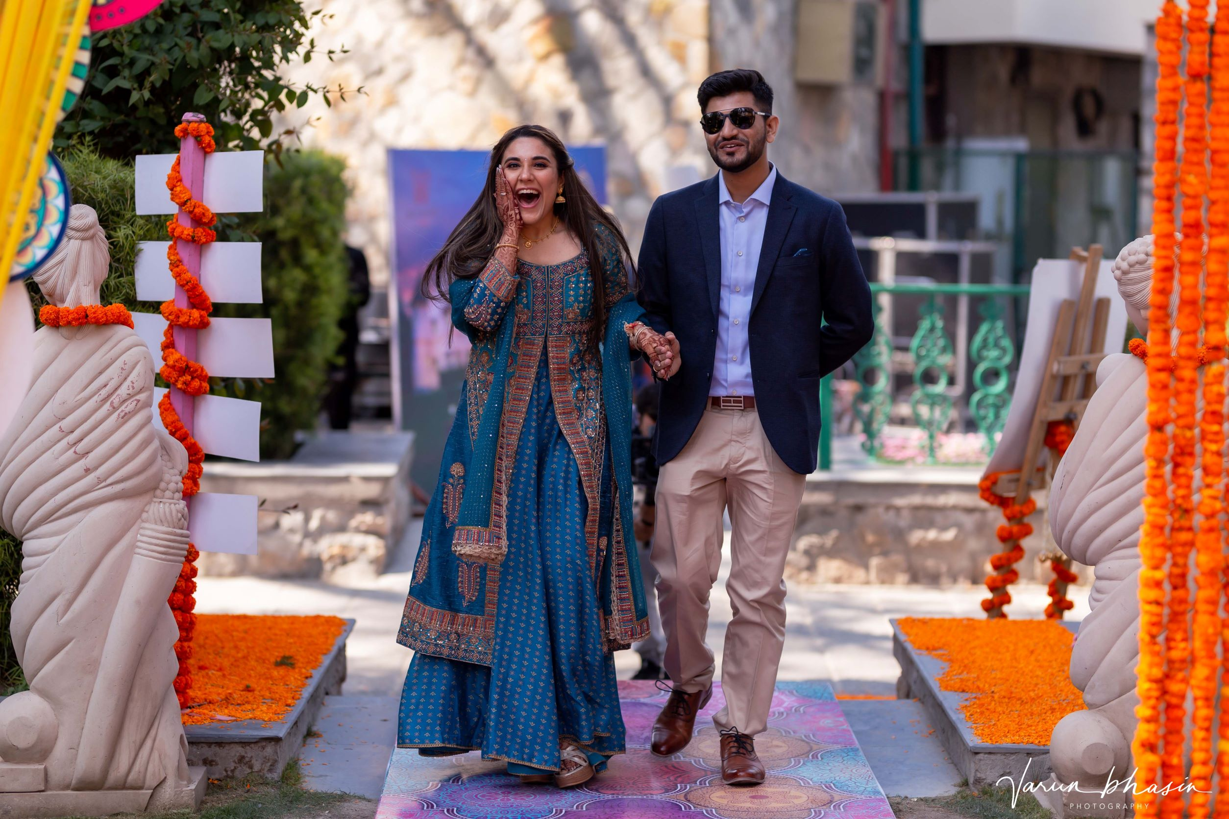 candid shot of the couple entering
