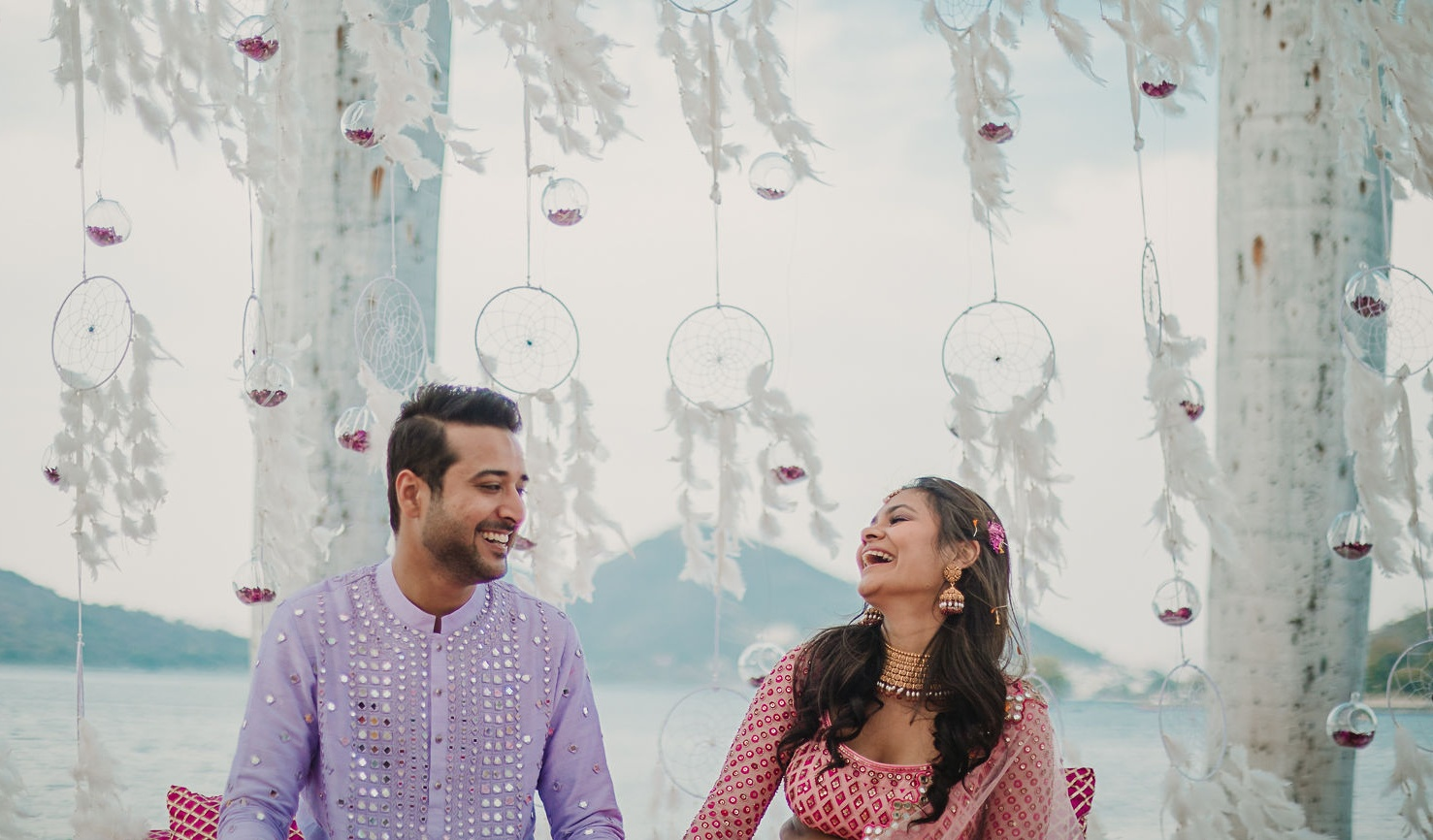 candid shot of the udaipur couple