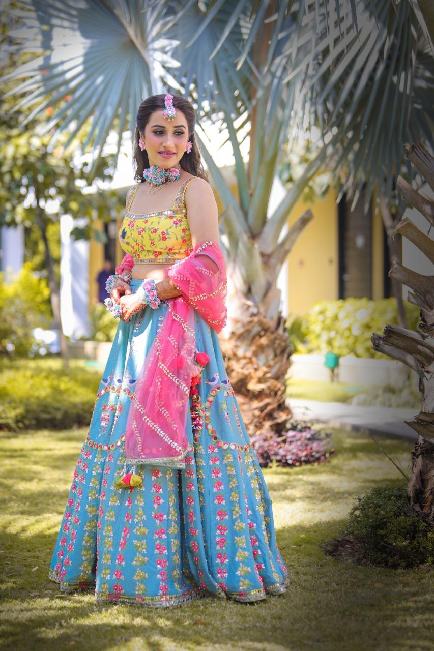 colorful mehendi ceremony dress