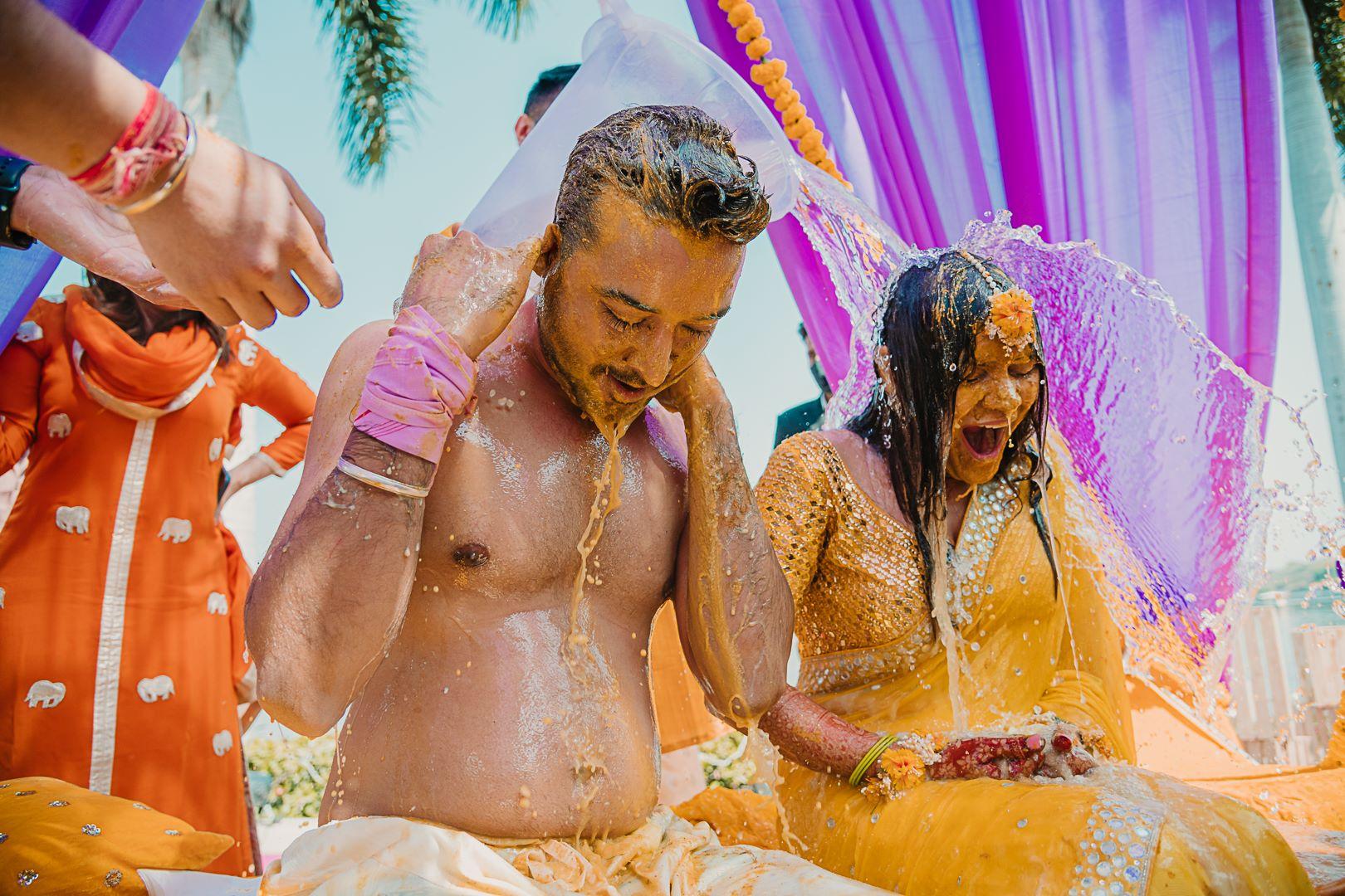 couple at their haldi shower