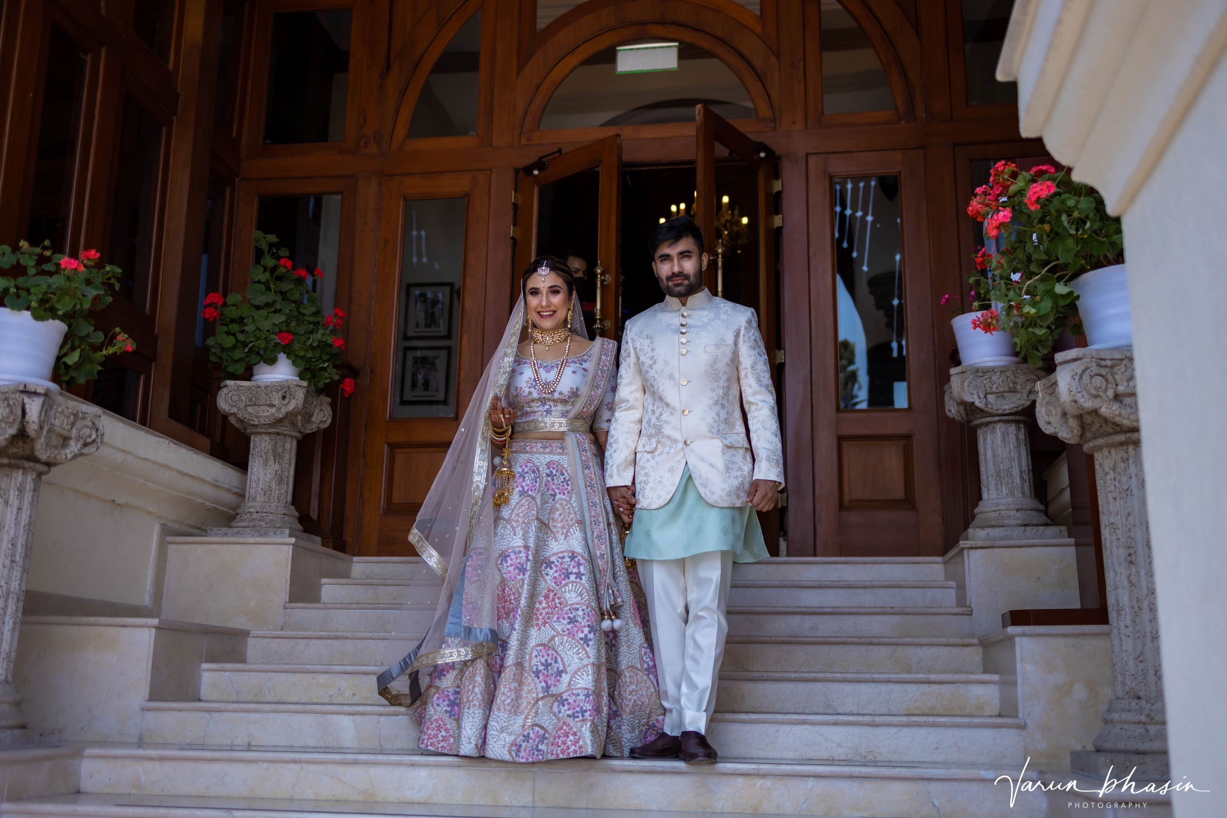 couple in pastel coordinated outfits