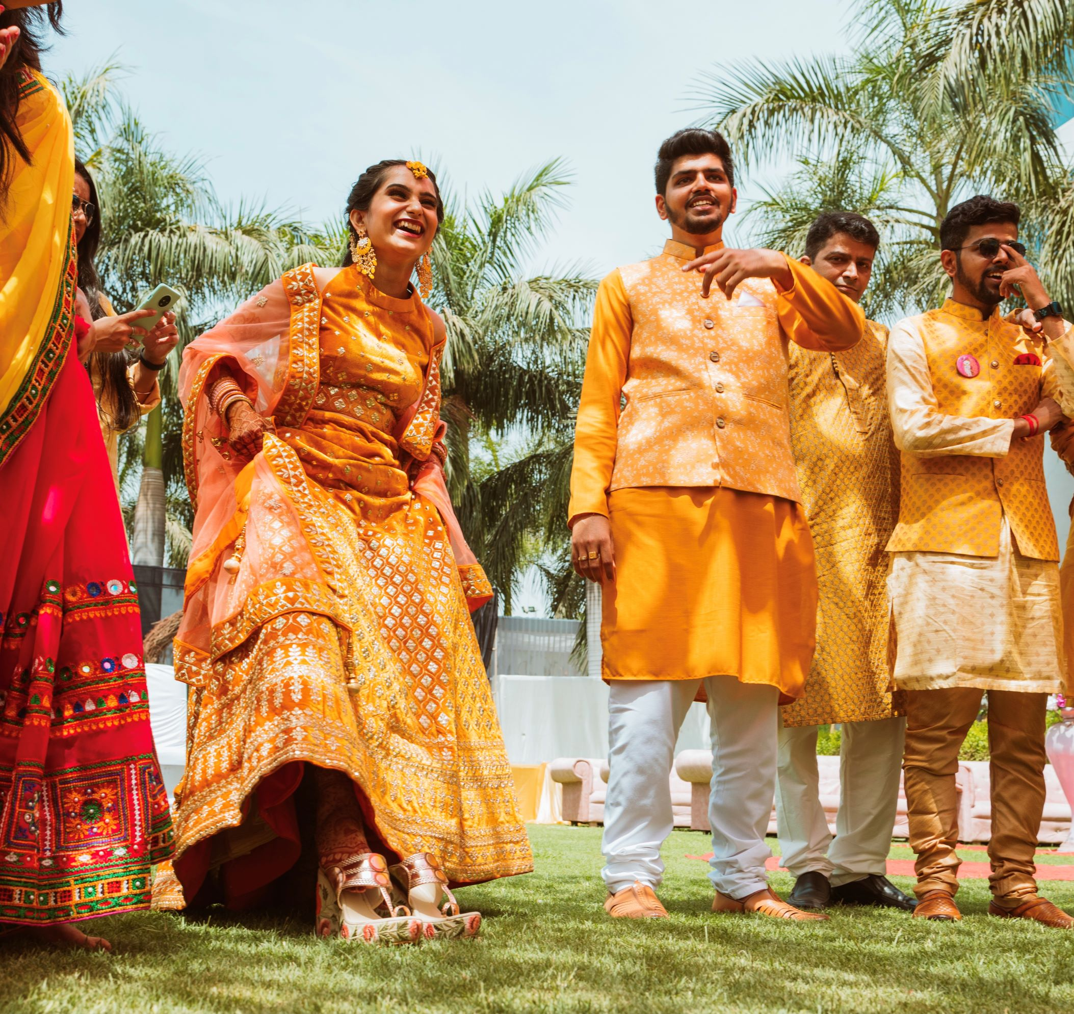 couple in yellow outfits for haldi