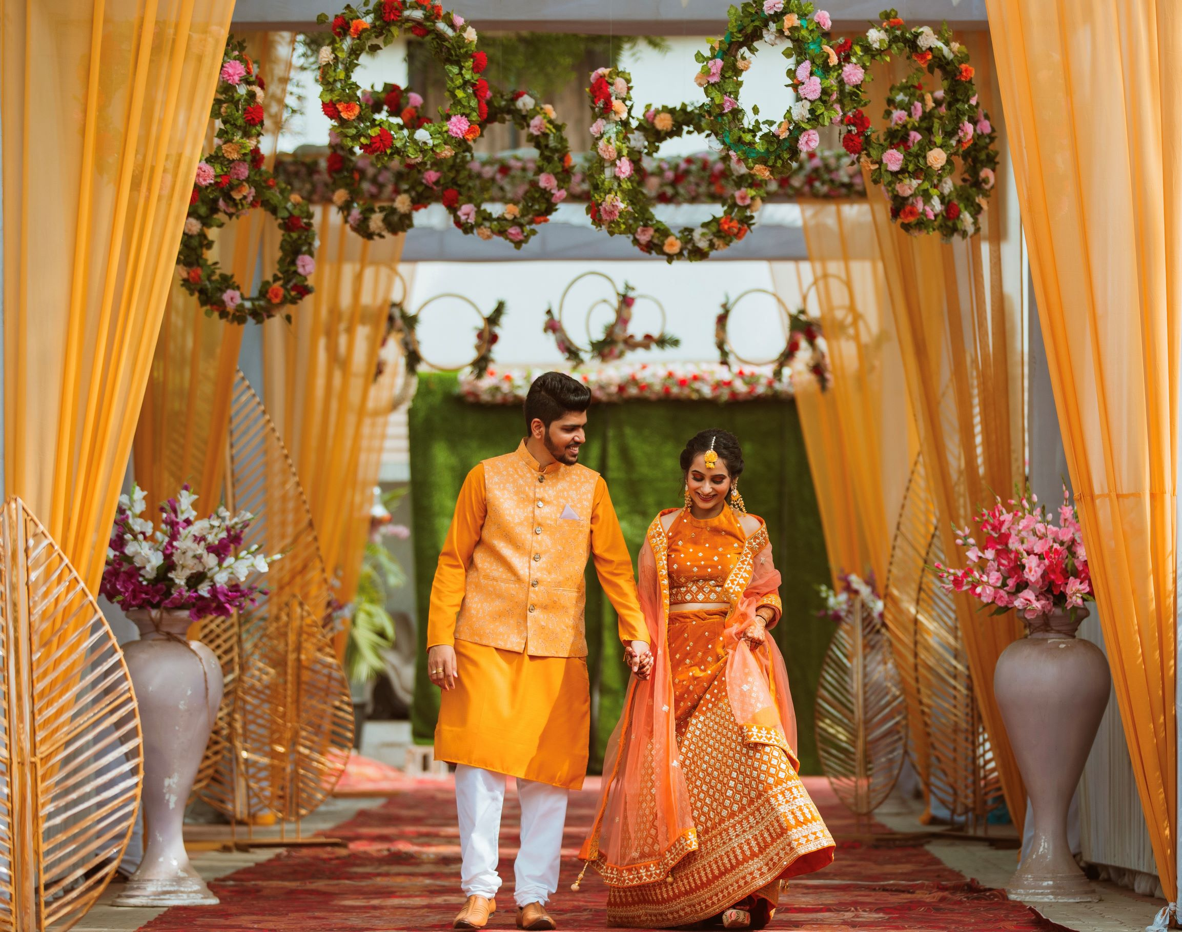 couple yellow outfits for haldi