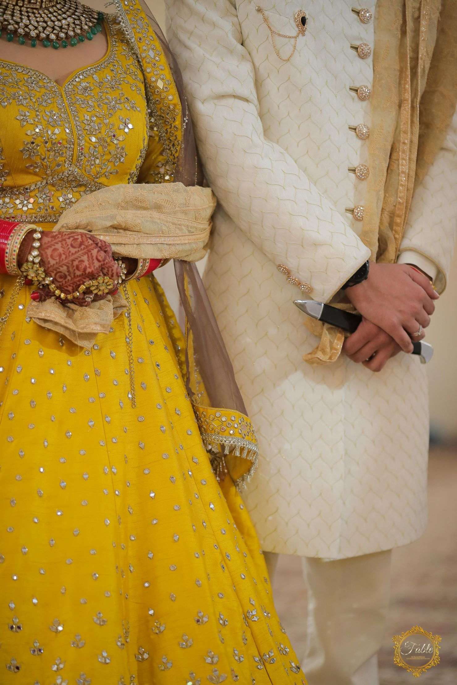 detail shot of couple's hands