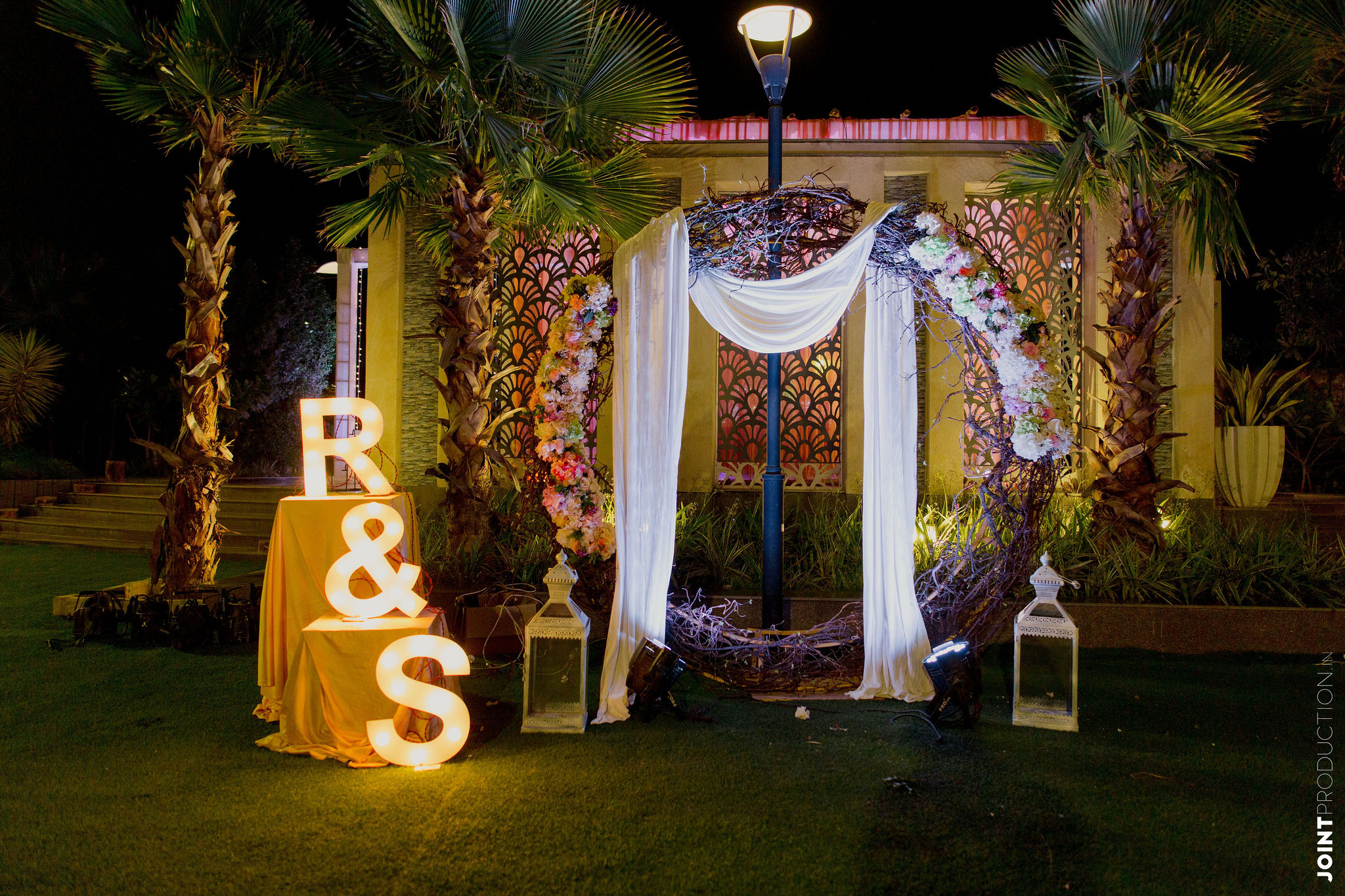 engagement decor with couple's intials