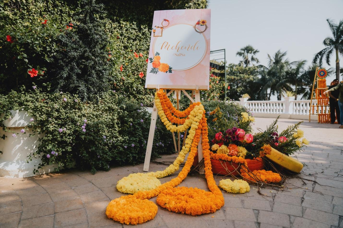 entrance decoration for haldi and mehendi ceremony