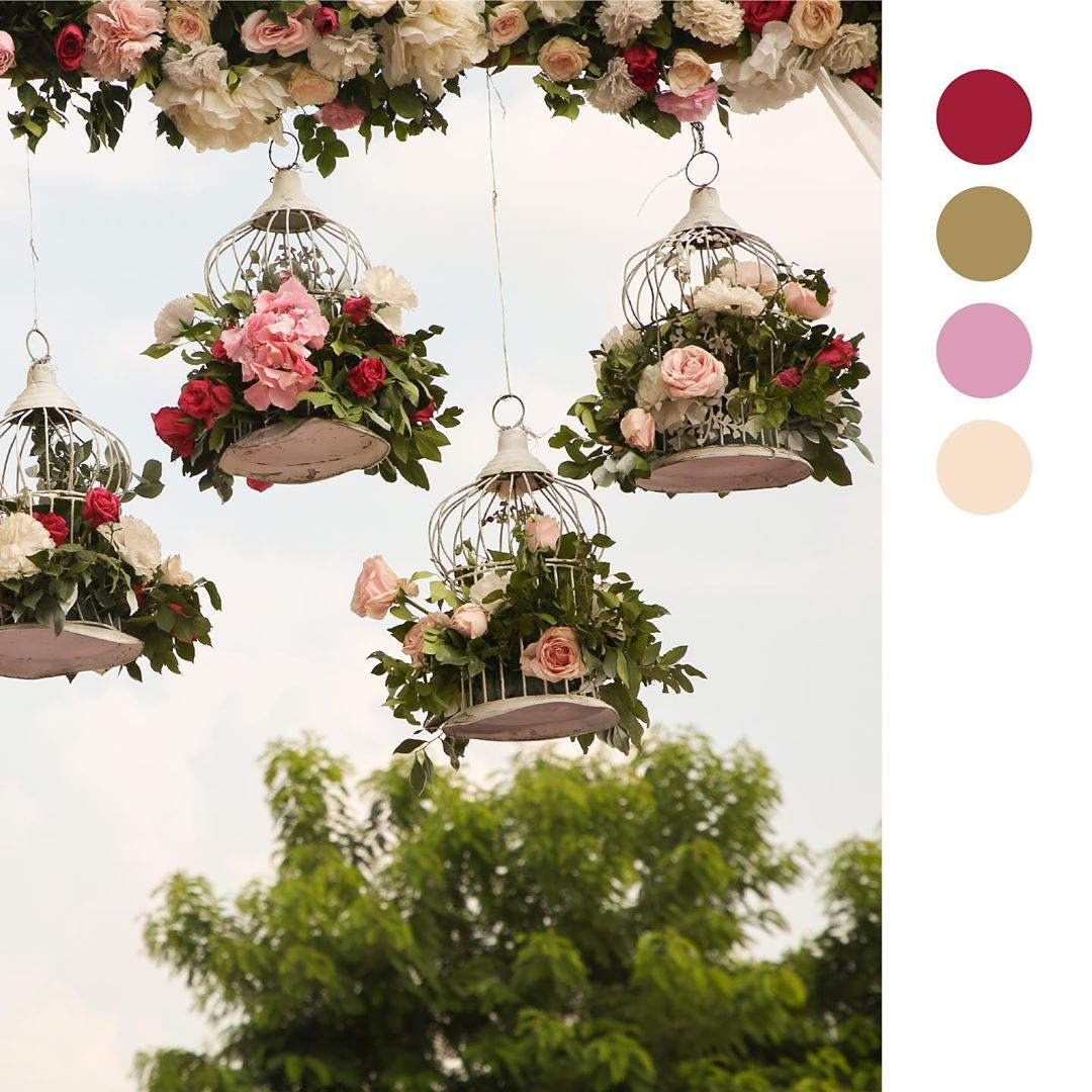 floral hangings roses wedding decor design
