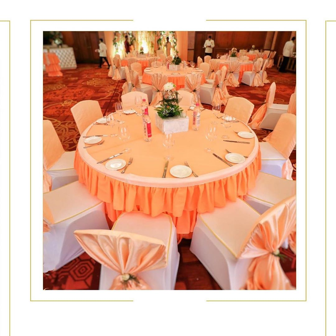 orange and white classic table decor design