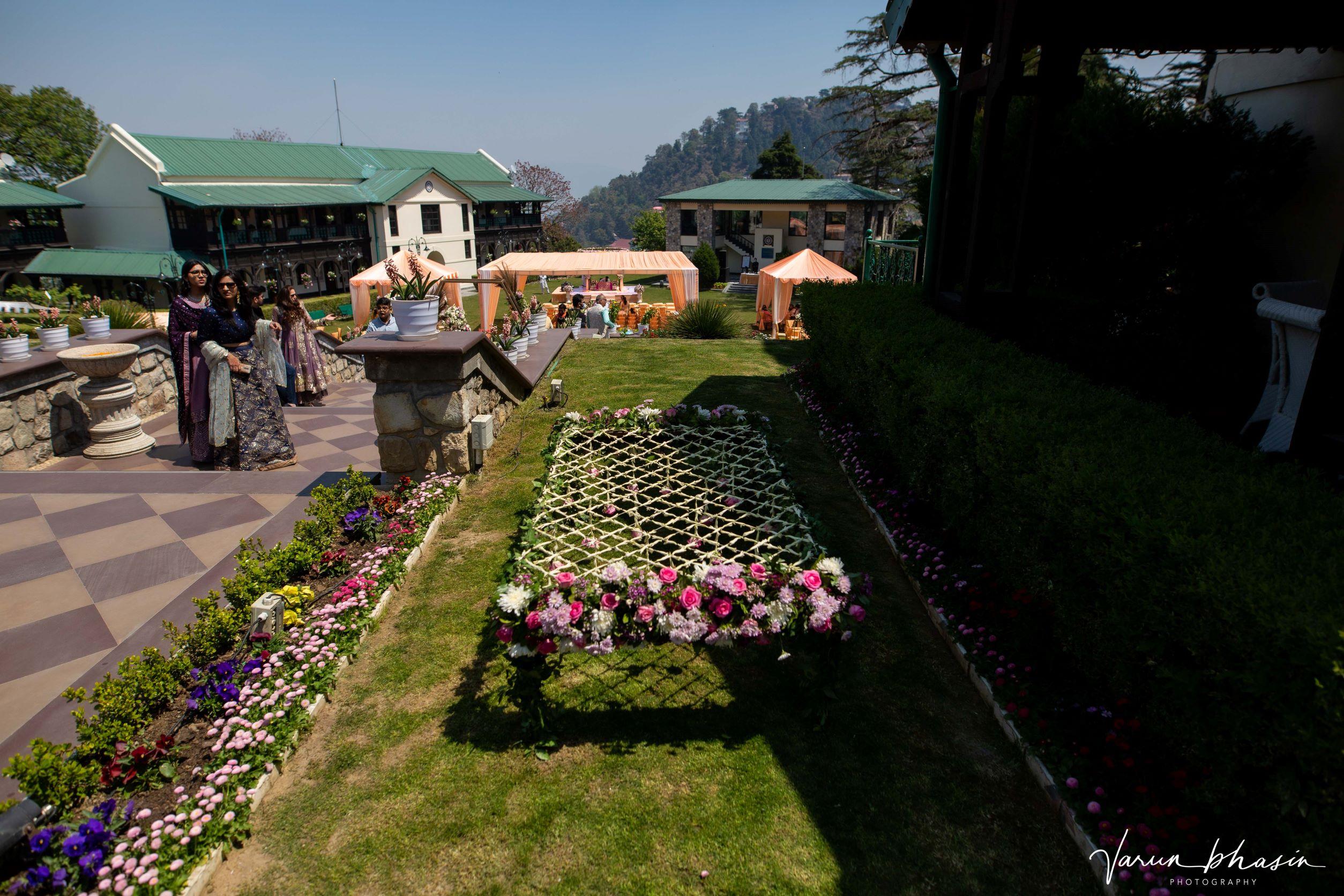 floral chhatri for bridal entry