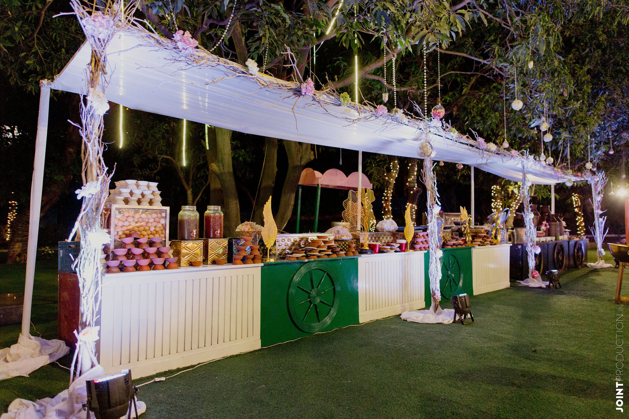 green and white food counter