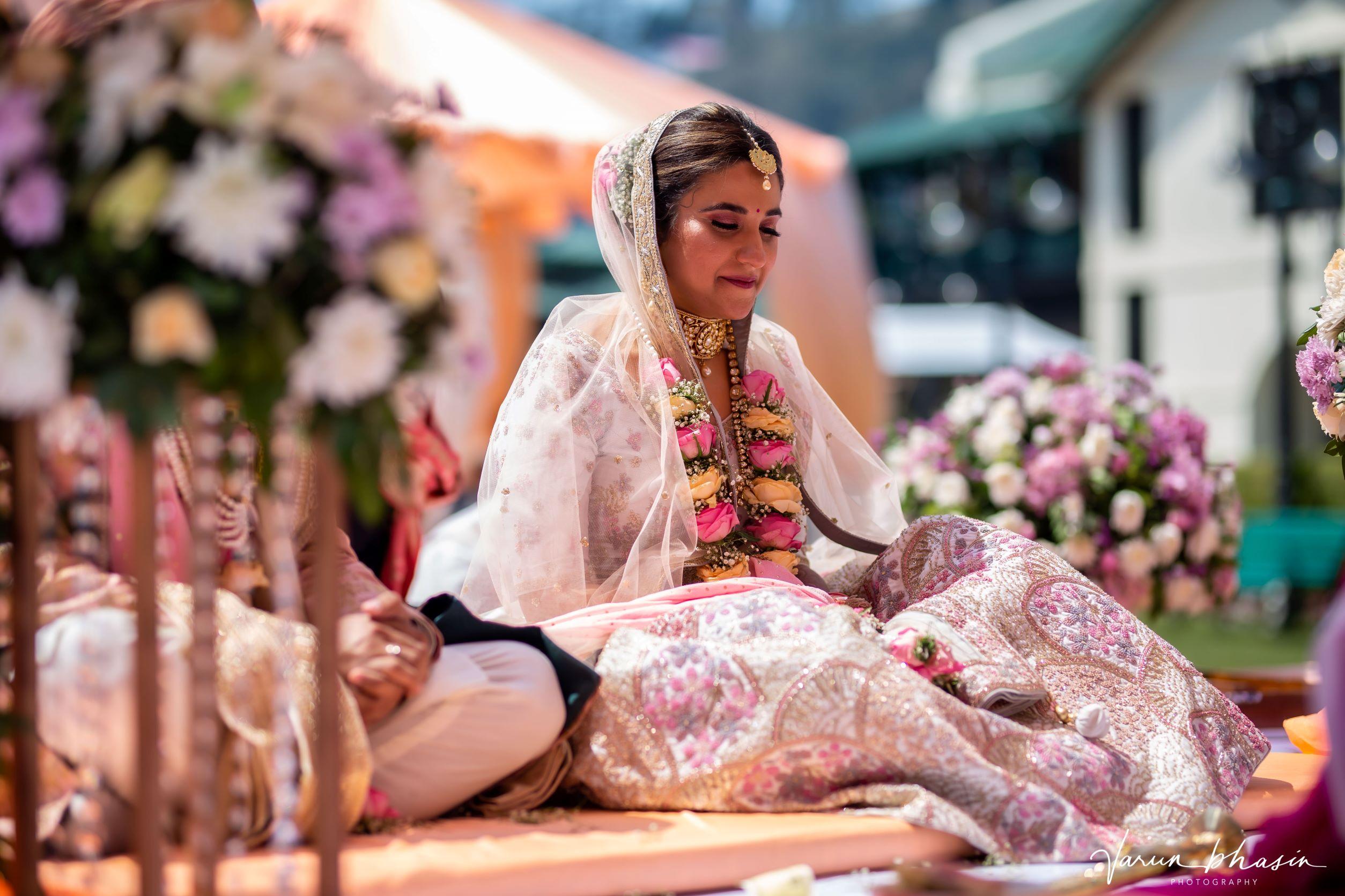 happy bride at her mountain wedding