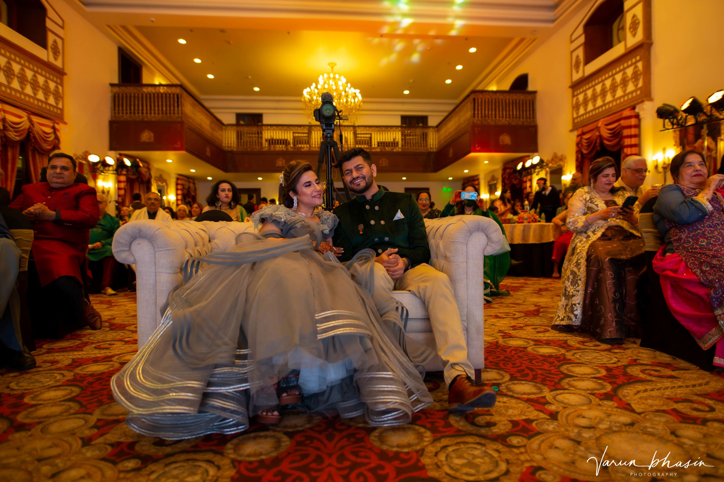 happy couple at their sangeet
