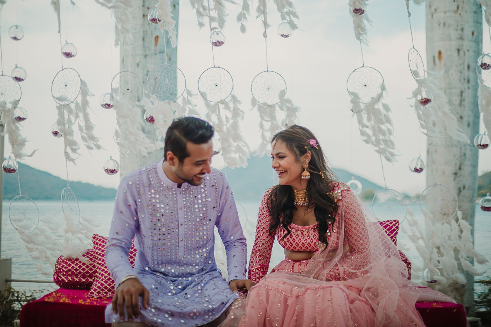 happy couple at their udaipur wedding