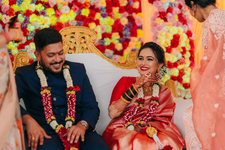 happy maharashtrian couple at their engagement