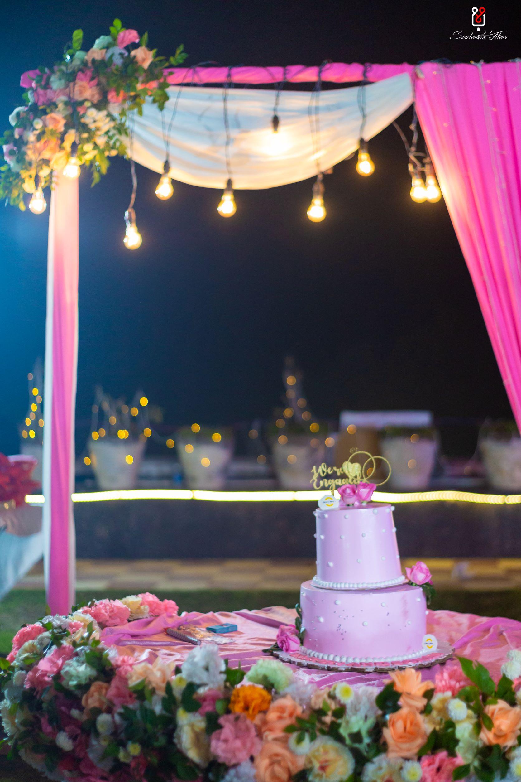 lavender engagement cake