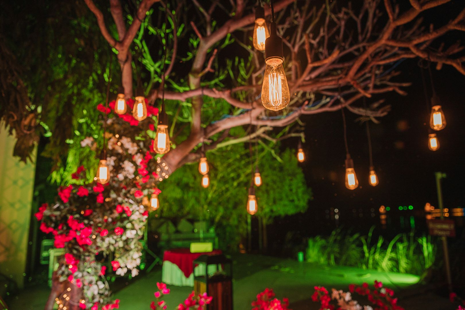 lights and flowers outdoor decor